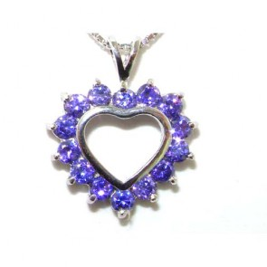 Sterling Silver Heart Stone Set Pendant Necklace
