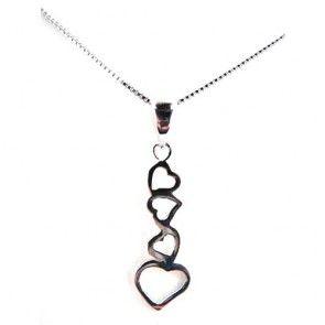 Sterling Silver Unusual Long Four Heart Pendant Necklace