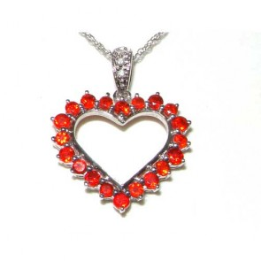 9ct White Gold Fire Opal & Diamond Heart Necklace