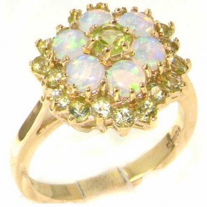 9ct Gold Peridot & Opal Cluster Ring