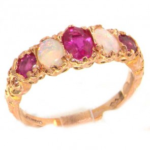 9ct Rose Gold Luxury Vibrant Ruby & Opal Eternity Band Ring