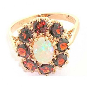 14K Rose Gold Fiery Opal & Garnet Ring