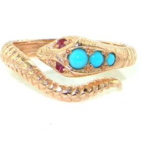 9ct Rose Gold Natural Turquoise & Ruby Detailed Snake Ring
