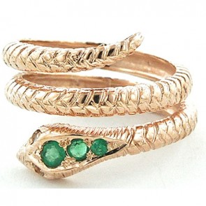 9ct Rose Gold Emerald & Tanzanite Snake Ring