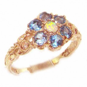 9ct Rose Gold Opal & Blue Topaz Daisy Ring