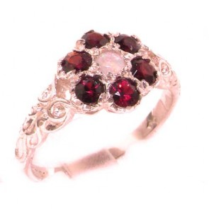 9ct Rose Gold Natural Fiery Opal & Garnet Daisy Ring