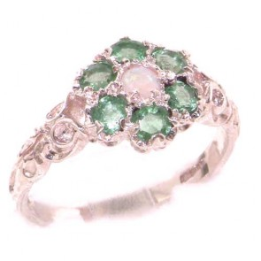 9ct Rose Gold Natural Fiery Opal & Emerald Daisy Ring