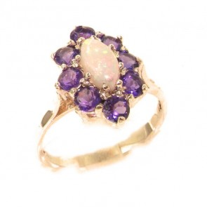 9ct Rose Gold Natural Opal & Amethyst Cluster Ring