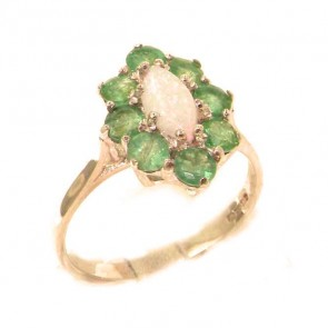 9ct Rose Gold Natural Opal & Emerald Cluster Ring