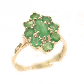 9ct Rose Gold Natural Emerald Cluster Ring