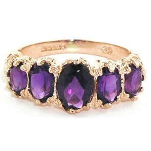 14K Rose Gold Vibrant Amethyst Ring