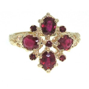 9ct Gold AAA Ruby 9 Stone Ring