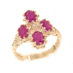 9ct Rose Gold Natural Ruby & Fiery Opal Ring