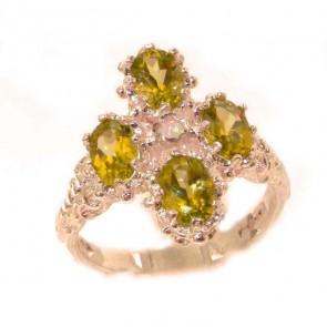 9ct Rose Gold Natural Peridot & Fiery Opal Ring