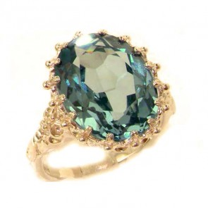9ct Rose Gold Large 16x12mm Oval 10ct Synthetic Aquamarine Ring