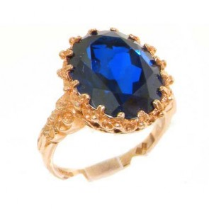 9ct Rose Gold Large 16x12mm Oval 11ct Synthetic Blue Sapphire Ring