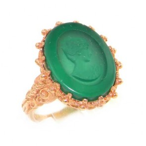 9ct Rose Gold Ladies Green Chrysoprase Itaglio RingFree P&