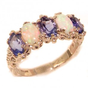 9ct Rose Gold Natural Amethyst & Fiery Opal Ring