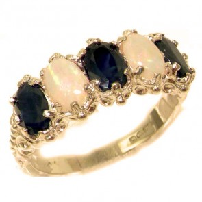 9ct Rose Gold Natural Sapphire & Opal Ring