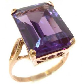 9ct Rose Gold Large 16x12mm Octagon cut Synthetic Alexandrite Ring