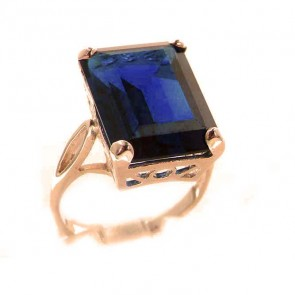 9ct Rose Gold Large 16x12mm Octagon cut Synthetic Sapphire Ring