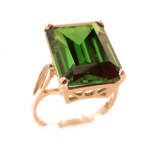 9ct Rose Gold Large 16x12mm Octagon cut Synthetic Emerald Ring