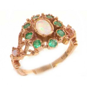9ct Rose Gold Opal & Emerald Rosette Ring