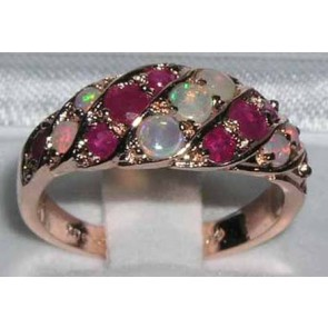 9ct Rose Gold Natural Fiery Opal & Ruby Band Ring
