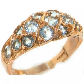9ct Rose Gold Natural Aquamarine Band Ring
