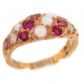14K Rose Gold Opal & Ruby Band Ring