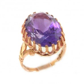 9ct Rose Gold Vibrant Amethyst Ring