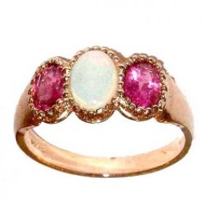 9ct Rose Gold Fiery Opal & Pink Tourmaline Ring