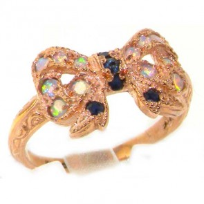9ct Rose Gold Ladies Sapphire & Fiery Opal Vintage Style Bow Ring