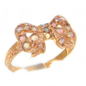 9ct Rose Gold Ladies Colorful Fiery Opal Vintage Style Bow Ring