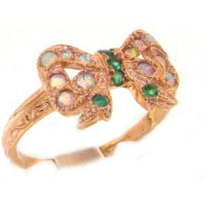 9ct Rose Gold Ladies Emerald & Fiery Opal Vintage Style Bow Ring