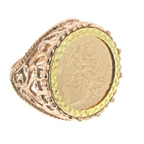 9ct Rose Gold Filigree Design 2019 Full Sovereign Ring