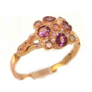 9ct Rose Gold Ladies Fiery Opal & Pink Tourmaline Vintage Style Cluster Ring