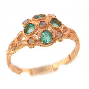9ct Rose Gold Ladies Fiery Opal & Emerald Vintage Style Cluster Ring