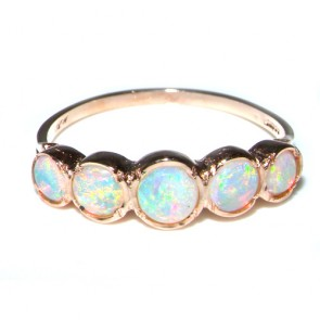 9ct Rose Gold 5 Stone Opal Eternity Ring