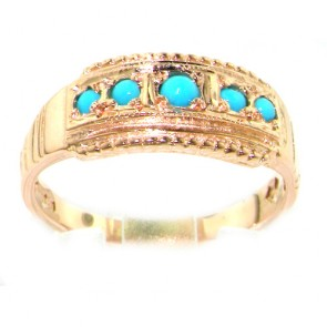 9ct Rose Gold Turquoise Band Ring