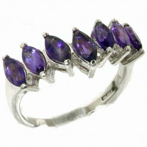Sterling Silver Natural Amethyst High Quality Wishbone Eternity Ring