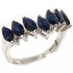 Sterling Silver Natural Sapphire High Quality Wishbone Eternity Ring