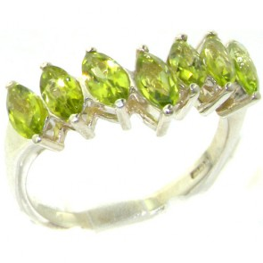 Sterling Silver Natural Peridot High Quality Wishbone Eternity Ring