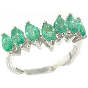 Sterling Silver Natural Emerald High Quality Wishbone Eternity Ring