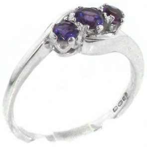 Sterling Silver Natural Amethyst Trilogy Ring