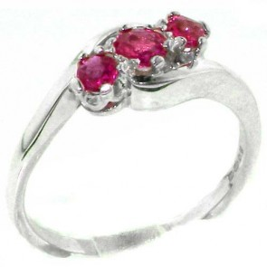 Sterling Silver Natural Ruby Trilogy Ring