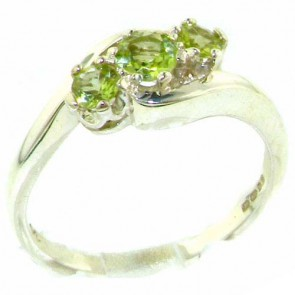 Sterling Silver Natural Peridot Trilogy Ring