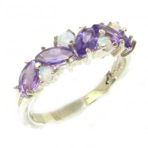 9ct White Gold Marquise Amethyst & Opal Ring Size S