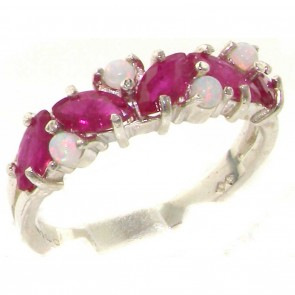 Sterling Silver Opal & Marquise Ruby Eternity Ring