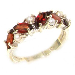 Sterling Silver Silver Natural Garnet & Pearl Eternity Ring